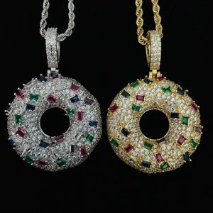 Iced-Out Donut Pendant / 3mm Rope Chain